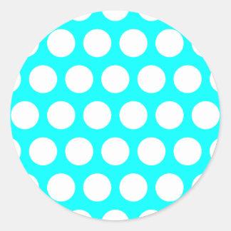 Aqua and White Polka Dots Classic Round Sticker