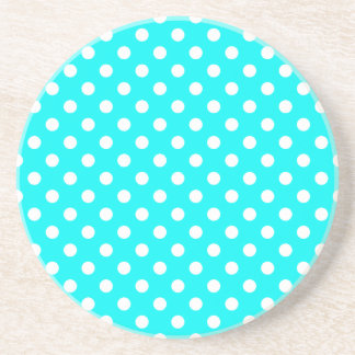 Aqua and White Polka Dots Drink Coaster