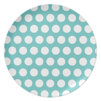 Aqua and White Polka Dots Pattern Plate