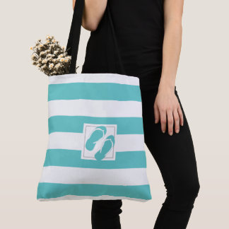 Aqua and White Poolside Stripes with Flip Flops Tote Bag