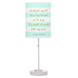 """Aqua and White Striped """"It is Well With My Soul"""" Table Lamp"""