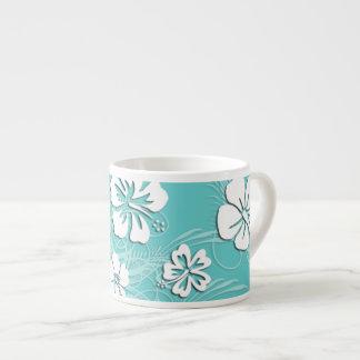 Aqua and White Tropical Hibiscus Espresso Cup