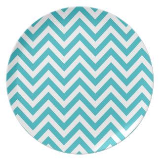 Aqua and White Zigzag Pattern Chevron Plate
