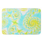 aqua and yellow fractal bath mat