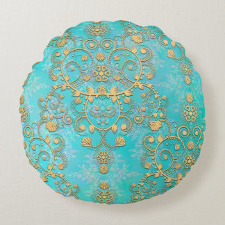 Aqua and Yellow Gold Lacy Damask Round Pillow