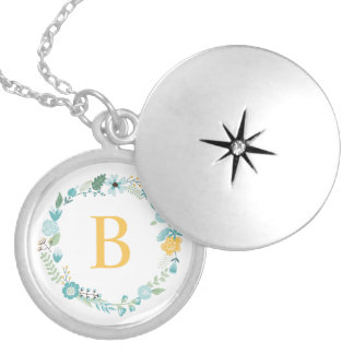 Aqua and Yellow Monogrammed Floral Wreath Round Locket Necklace