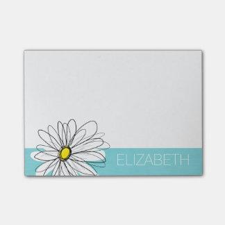 Aqua and Yellow Whimsical Daisy Custom Text Post-it Notes
