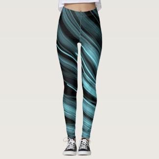 Aqua Angular Lines - Leggings