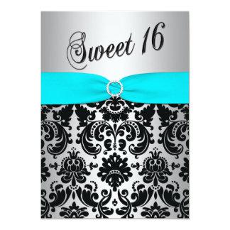 Aqua, argent, et invitation noire du bonbon 16 à carton d'invitation  12,7 cm x 17,78 cm