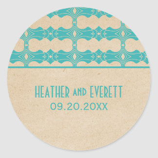 Aqua Art Deco Border Wedding Stickers