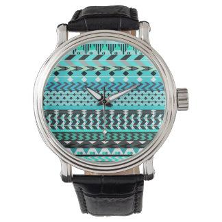 Aqua Aztec Pattern Wristwatch