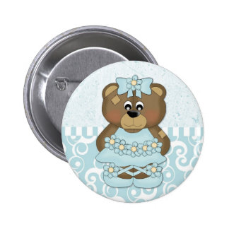Aqua Ballerina Bear Buttons