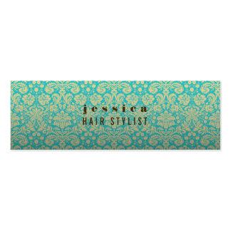 Aqua Baroque Wallpaper Hair Stylist Skinny Card Mini Business Card