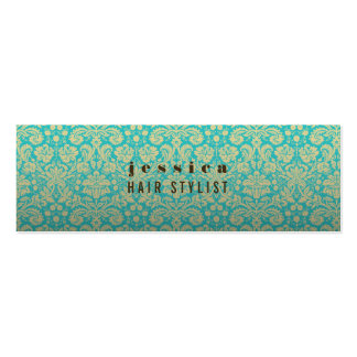 Aqua Baroque Wallpaper Hair Stylist Skinny Card Pack Of Skinny Business Cards
