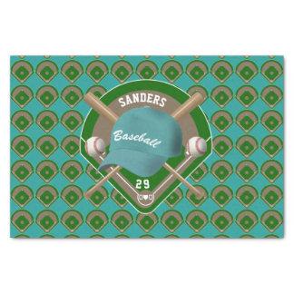 Aqua Baseball Diamond Player Name and Number Tissue Paper