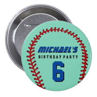 Aqua Baseball Sports Kids Birthday Party Button