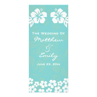 Aqua Beach Flowers Wedding Program
