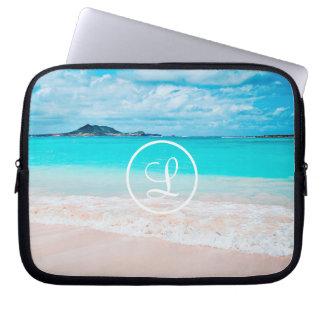 Aqua beach photo custom monogram laptop sleeve