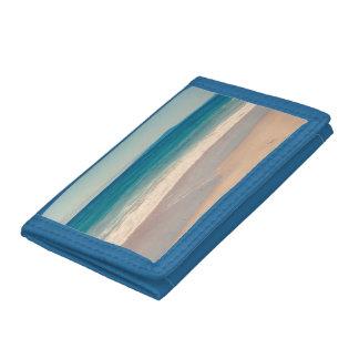 Aqua Beach Scene Blue Trifold Wallet