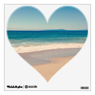 Aqua Beach Scene Heart Wall Decal