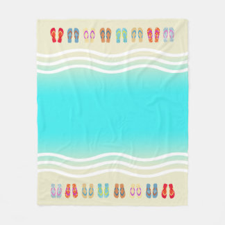 Aqua Beach Waves Summer Sandals Fleece Blanket