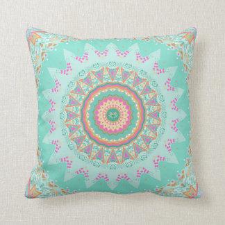 Aqua Beauty Mandala Throw Pillow