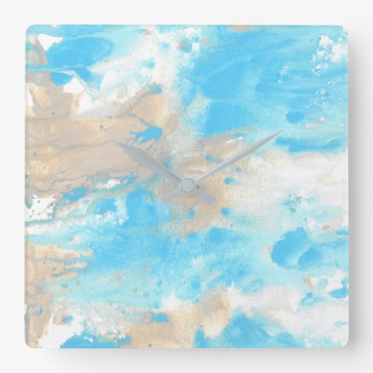 Aqua Beige Abstract Wallclock