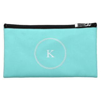 Aqua Belle Aqua Blue and White Text Wedding Cosmetics Bags
