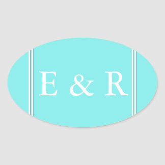 Aqua Belle Aqua Blue and White Text Wedding Oval Sticker