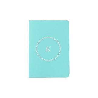 Aqua Belle Aqua Blue and White Text Wedding Passport Holder