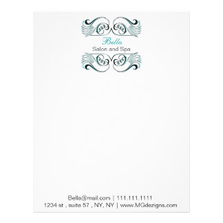 aqua  black and white Chic Business letterheads Customized Letterhead