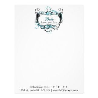 aqua, black and white Chic Business letterheads Personalized Letterhead