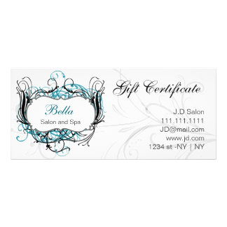 aqua,black and white Chic Gift Certificates