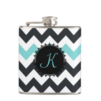 Aqua Black Chevron Monogram Flask