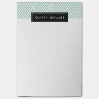 Aqua & Black Chevron Pattern Post-it Notes