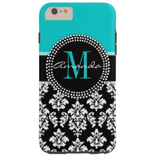 Aqua Black Damask Girly Monogram Name Tough iPhone 6 Plus Case