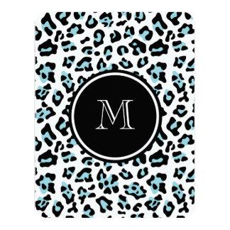 "Aqua Black Leopard Animal Print with Monogram 4.25"" X 5.5"" Invitation Card"