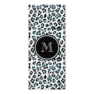 Aqua Black Leopard Animal Print with Monogram 4x9.25 Paper Invitation Card