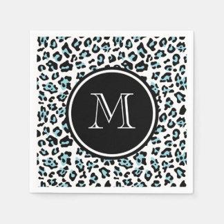 Aqua Black Leopard Animal Print with Monogram Paper Napkin