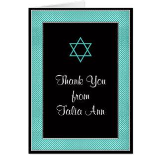 Aqua Black Mini Polka Dot Bat Mitzvah Thank You Card