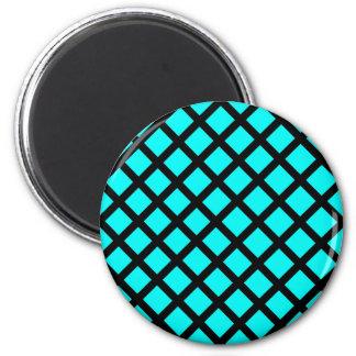 Aqua black pattern 2 inch round magnet