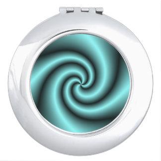 Aqua/Black Swirl>Compact Mirror Travel Mirror