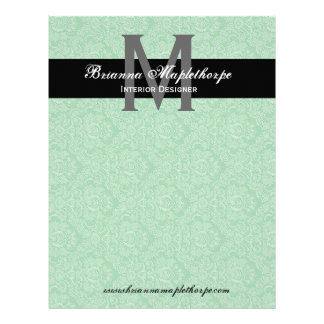 Aqua Black White Damask Monogram Letterhead