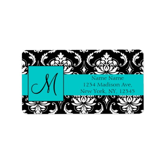Aqua Black White Damask Return Address Labels