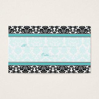 Aqua, Black, White Damask Wedding Place Cards