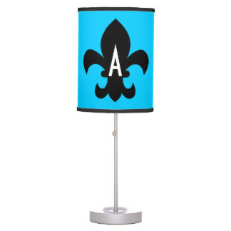Aqua Black White Fleur de Lis Monogram Table Lamp