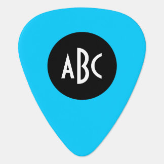 Aqua Black White Monogram Guitar Pick