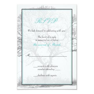 "Aqua Black White Winter Tree Wedding Reply Card 3.5"" X 5"" Invitation Card"