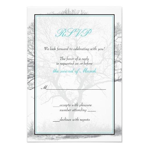 Aqua Black White Winter Tree Wedding Reply Card Invites