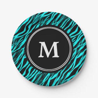 Aqua Black Zebra Stripe Monogram Paper Plate